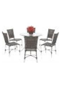 Jogo Cadeiras 6Un E Mesa Alta Romenia Para Edicula Jardim Area Varanda Cozinha - Pedra Ferro