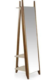 Espelho Stoka Laca Nogal/Marrom Claro - Máxima