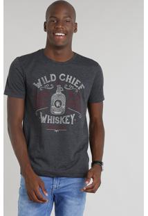 """Camiseta Masculina """"Whiskey"""" Manga Curta Gola Careca Cinza Mescla Escuro"""