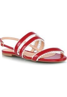 Sandália Rasteira Bico Redondo Vermelho Tiras Com Pérolas