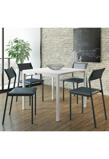 Conjunto Mesa 1525 Branca Com 4 Cadeiras 1709 Color Uv Azul Noturno Carraro