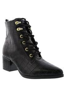 Bota Ankle Boot Vizzano Salto Bloco Textura Croco Preto 3052312