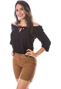 Bermuda Sisal Jeans Meia Coxa Color Feminina - Feminino-Marrom