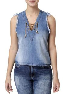 Blusa Regata Jeans Feminina Azul