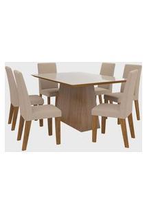 Sala De Jantar Scarlet V C/6 Cadeiras Vênus Imbuia/Off White Viero Móveis
