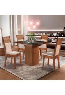 Conjunto De Mesa De Jantar Dakota Com 4 Cadeiras Ravena Ll Suede Preto E Bege