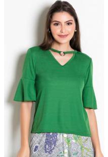 Blusa Verde Com Argola No Decote Moda Evangélica