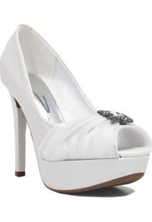 Sapato De Noivas Vizzano Peep Toe Salto Fino Noivas