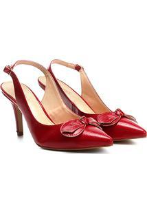 Scarpin Couro Shoestock Salto Alto Verniz - Feminino-Vermelho