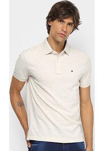 Camisa Polo Tommy Hilfiger Básica Masculina - Masculino-Off White
