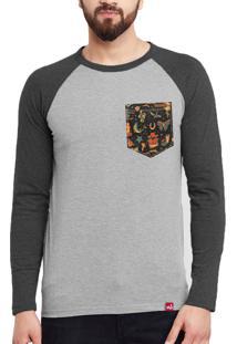Camiseta Manga Longa Wevans Bolso Old School Cinza