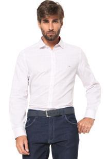 Camisa Aramis Reta Quadriculada Branca/Laranja
