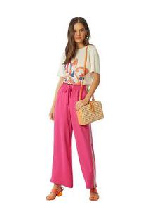 Calça Maria.Valentina Comfort Cós Elástico Com Recorte Pink