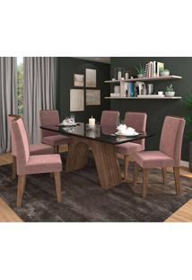 Conjunto De Mesa Clara Para Sala De Jantar Com 6 Cadeiras Taís Moldura -Cimol - Marrocos / Preto / Rose