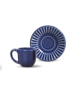 Xícara De Café Plissé Cerâmica 6 Peças Azul Navy Porto Brasil