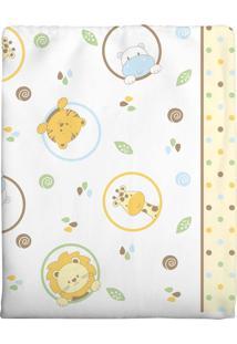 Cobertor Incomfral Leaozinho Para Bebê 70 X 90Cm Branco
