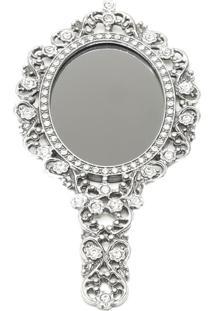 Espelho De Mão Com Moldura Zamac Secret Prata Prestige