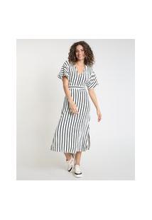 Vestido Feminino Midi Listrado Com Linho E Fenda Manga Curta Off White