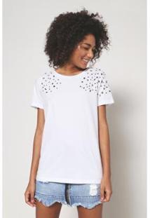 Camiseta Oh, Boy! Bordado Pedraria Feminina - Feminino-Branco
