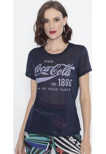 """Blusa Em Flamê """"Coca-Cola®""""- Azul Escuro & Azul Claro"""