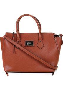 Bolsa Santa Lolla Handbag Texturizada Placa Feminina - Feminino-Caramelo