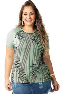 Blusa Com Filete No Decote Verde Habana