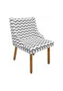 Cadeira De Jantar Liz Estampado Zig Zag Cinza D92 Pés Castanho Pés Palito Castanho D'Rossi