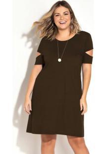 Vestido Marrom Com Recortes Vazados Plus Size
