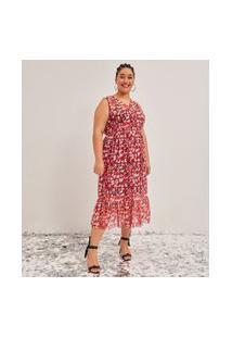 Vestido Midi Em Tule Estampa Animal Print Curve & Plus Size | Ashua Curve E Plus Size | Vermelho | Eg
