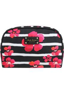 Nécessaire Retangular Floral- Preta & Pink- 15,5X22Xjacki Design