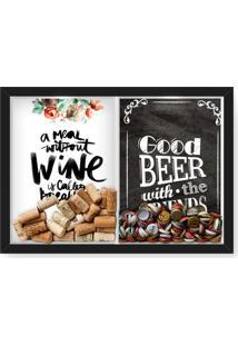 Quadro Porta Rolha Vinho E Tampinha Cerveja (2 Em 1) 33X43 Cm Nerderia E Lojaria Breakfast E Good Beer Black Preto - Preto - Dafiti