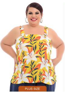 Blusa Ilhós Amarela Plus Size