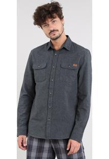 Camisa Masculina Com Bolsos Manga Longa Cinza Mescla Escuro