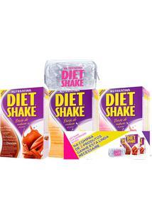 Kit Diet Shake Sabores Variados 3 Unidades 400G Cada Grátis Necessaire