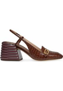 Fendi Sapato Com Efeito De Pele De Crocodilo E Fechamento No Tornozelo - Marrom