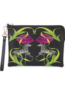 Cynthia Rowley Clutch Com Estampa Floral E Animal Print - Preto