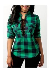 Camisa Feminina Estampa Xadrez Com Bolsos Frontal - Verde