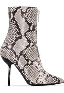 Unravel Project Ankle Boot Com Estampa Pele De Cobra - Cinza