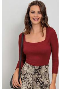 Blusa Com Decote Quadrado Vermelho