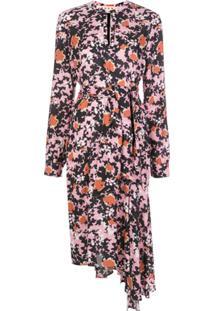 Marni Vestido Com Estampa Floral E Amarração Na Cintura - Estampado