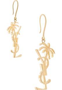 Saint Laurent Brinco Único Ysl Palm Tree - Dourado