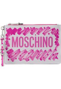 Moschino Clutch Com Logo - Rosa