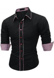 Camisa Masculina Slim Fit Com Detalhes Xadrez Manga Longa - Preto