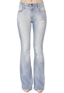 Calça Jeans Flare Estonada Handbook Feminina - Feminino-Jeans