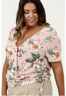 Blusa Feminina Estampa Tropical Plus Size Marisa