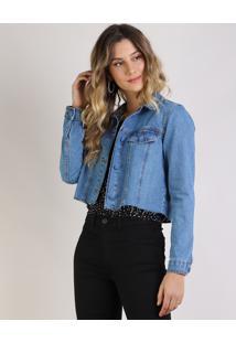 Jaqueta Jeans Feminina Corpped Com Recortes E Bolsos Azul Médio