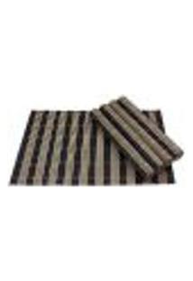 Jogo Americano Bambu Listrado Preto Com 4 Peças