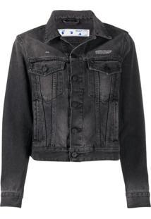 Off-White Button-Up Denim Jacket - Cinza