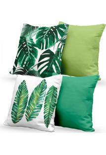 Kit 4 Capas De Almofadas Decorativas Own Folhas E Lisas Tons Verdes 45X45 - Somente Capa