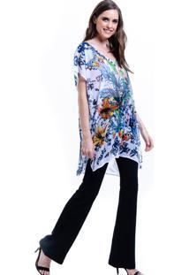 Blusa 101 Resort Wear Tunica Decote V Crepe Fendas Estampada Floral - Azul/Floral - Feminino - Dafiti